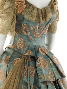 Evening Dress, 1884, House of Worth, French, Aqua satin brocaded with salmon pink flowers; salmon pink satin; tea-dyed lace