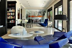 Awesome Residence Architecture with Modern Style: Incredible Punta Brava Home Interior In Living Room Decorated With Blue Leather Sofa Furni. Futuristic Interior, Futuristic Design, Modern Home Furniture, Furniture Decor, Lofts, Home Interior Design, Interior Architecture, Interior Ideas, Interior Inspiration
