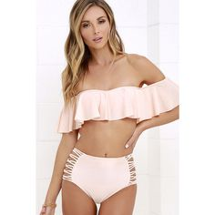O'Neill Lux Solids Peach Off-the-Shoulder Bikini Top (£36) ❤ liked on Polyvore featuring swimwear, bikinis, bikini tops, bathing suit, ruffle bikini top, scrunch bikini, strapless bikini, swimsuit swimwear and ruffle top swimsuit