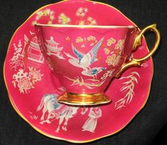 ROYAL ALBERT Oriental BIRD ENGLAND PINK GOLD FOOTED TEA CUP AND SAUCER