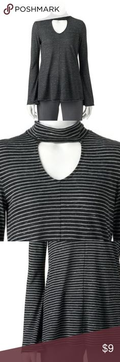 "Apt. 9 Keyhole Choker Top Cut out Mock-Neck L NWT BRAND NEW WITH TAG:  Unbeatable style starts with this women's Apt. 9 top, featuring a chic keyhole detail decorating the neckline. In black with white stripes MSRP. $30  PRODUCT FEATURES Keyhole accent  Mockneck  Long bell sleeves  Soft jersey construction   Fabric & Care  8% Polyester, 92% rayon Machine wash   Actual measurements: bust: 40"", waist: 42"", length: 28"" Apt. 9 Tops"