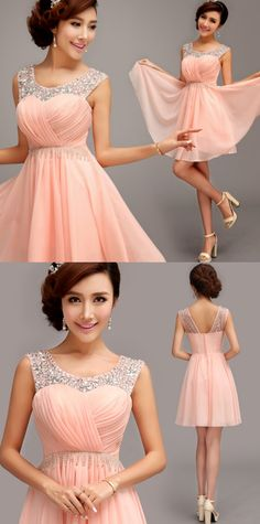 A-line/Princess Homecoming Dresses, Pink Homecoming Dresses, Short Homecoming Dresses, Short Pink Homecoming Dresses With Rhinestone Mini Round Sale Online, Homecoming Dresses Short, Short Pink dresses, Pink Short dresses, Pink Mini dresses
