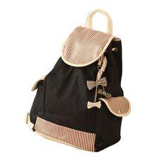 Women Backpacks Students Canvas Stripe Bowknot Backpack School Bag