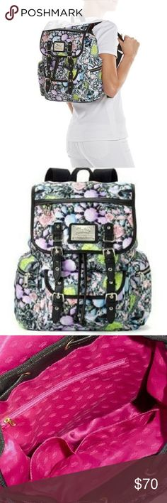 Juicy Conture Floral Backpack Juicy Conture showcases a photreal design with rhinestones accents. Material: nylon and faux leather  🌸 Height: 13 inches 🌸 Width: 10.25 inches 🌸 Depth: 5.5 inches 🌸 Top handle: 3 inches  ➡️ adjustable straps, magnetic snap and drawstring closure  ➡️ Exterior: 3 zip pockets & magnetic slip pocket ➡️ Interior: 2 slip pockets & zip pocket Juicy Couture Bags Backpacks