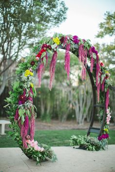 hanging amaranthus wedding arch