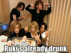 Aoi, Ruki, Uruha, Reita and kai. (from the GazettE) lol! Well, I think Uruha is the one whose drunk.. I mean, he's hogging the cake. Lol! XD