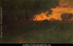 sunset landscape ~ oil on canvas ~ george inness