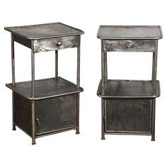 Pr Vintage Polished Metal Cabinets