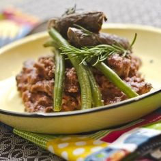 Rosemary-infused ostrich wors with red wine pap served up by Shirley Berko Sausage Recipes, Meat Recipes, Ostrich Meat, Tasty, Yummy Food, Served Up, Red Wine, Food To Make, African