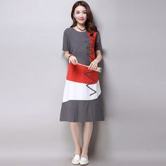 ==>DiscountPlus Size Clothing Women Loose Casual Dress New 2016 Fashion Korean Style Patchwork Short Sleeve Cotton Linen Summer Dress H286-in Dresses from Women's Clothing