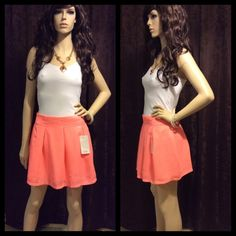 Pretty Peach Coral Pink Mini Skirt Chic NWT NWT. I have a bundle discount on my closet so be sure to check out my other listings. Depending on your screens contrast color may be lighter or darker than pictured. I normally ship within a day. Please ask me any questions. Happy poshing!  -Price is final unless bundled. Tobi Skirts Mini
