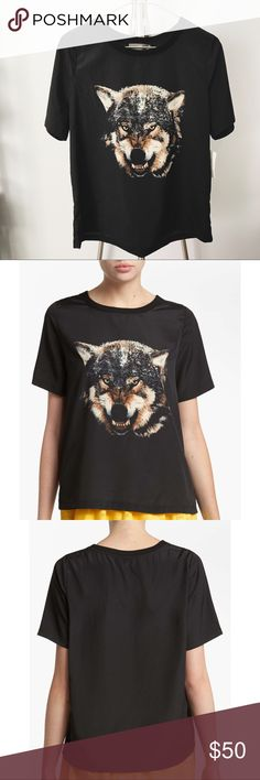 Wolf Print Top •Drapey polyester wolf graphic top.  •Size S, relaxed fit.   •New with tag.  •No trades, no holds. Like Mynded Tops Blouses