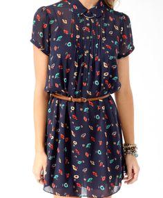 Colorful Floral Shirtdress w/ Belt | FOREVER21