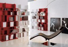 Furniture, Beautiful And Elegant Modular Bookshelf With The Smart Awesome And Interesting Design Ideas That Look So Beautiful Amazing Fascinating And Exciting With Some Books With The White And Red Color And Comfortable Chair ~ The Modular Bookshelves With The Neat Arrangement That Makes Your Room Look Nice And Great