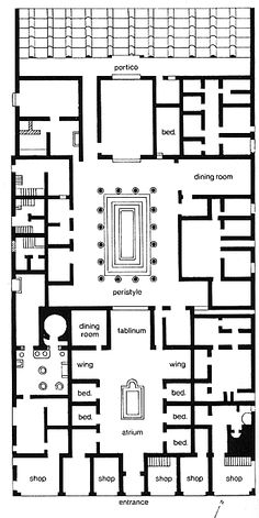 Plan of the House of Pansa, Pompeii - notice the axial plan. This house was for wealthier citizens, occupying almost an entire city block.