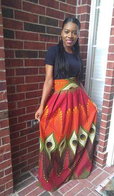 Ankara skirt Ankara maxi skirt African print maxi skirt by Oludan Ankara Clothing, African Print Clothing, African Print Fashion, Dashiki Skirt, Ankara Skirt, African Print Skirt, African Dress, Classy Outfits, Stylish Outfits