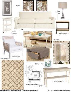 concept board for living room furnishings. | jill seidner interior