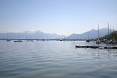 View from the #yachthotel #chiemsee to the bavarian mountains