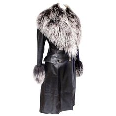 Jitrois Black Leather Mongolian Fur Trim Coat F 38 uk 10 | From a collection of rare vintage coats and outerwear at https://www.1stdibs.com/fashion/clothing/coats-outerwear/