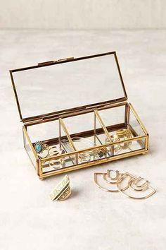 "Keepsake Glass Display Box (in Gold) (Urban Outfitters) [6.5"" L x 2.75"" W x 2.25"" H; glass, metal]"