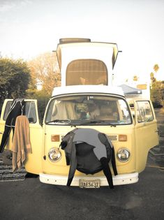 Take a nap in your van while your wetsuit dries in the sun. Oh, the freedom of a roadtrip <3. #roadtrips #VWvan