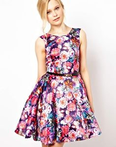 Club L Painted Floral Prom Dress