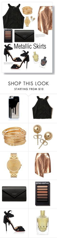 """""""Black & Gold Metallic Skirts"""" by livvydubs ❤ liked on Polyvore featuring Hollister Co., Bling Jewelry, Nixon, Boohoo, Balenciaga, Christian Louboutin and contest"""