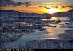 Winter sunset over frozen landscape, Holtavorduheidi, Iceland. ©  Ragnar Th. Sigurdsson / age fotostock - Stock Photos, Videos and Vectors