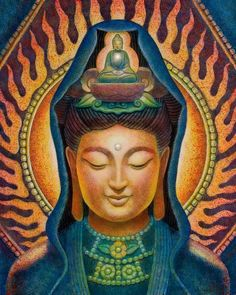Kuan Yin Flame by Sue Halstenberg. Kuan Yin, beloved goddess of over a billion people the world over. Her name too signifies her compassionate nature, literally meaning 'One who hears the cries of the world.'