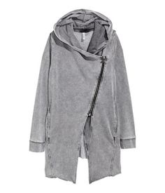 Gray. Cardigan in sweatshirt fabric with a lined hood, diagonal front zip, and side pockets. Ribbing at cuffs and raw edges at hem.