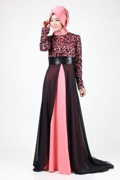 Ayşe Melek Kuyruklu Elbise 7062 Somon&Siyah