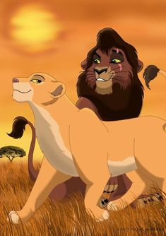 Kovu and Kiara Lion King Series, The Lion King 1994, Lion King Fan Art, Lion King Movie, Disney Lion King, Hakuna Matata, Arte Disney, Disney Art, Lion King 2 Kovu