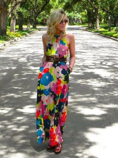 Colorful floral maxi dress