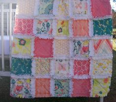 Crib Rag Quilt, Joyous Garden Coral Peach Teal Mint Yellow Made To Order Minky Baby Girl Shabby Chic Crib Bedding Crib Quilt