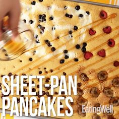 Pancakes are a weekend brunch necessity (mimosas, too), but making them for a crowd is time-consuming. Instead, bake four kinds of pancakes—peanut butter, chocolate chip, raspberry and blueberry—at once with this easy sheet-pan pancake recipe. Making several different pancakes in one batch means you can easily please your whole brunch party, including yourself! #brunch #brunchrecipes #breakfastrecipes #brunchideas #healthybrunchrecipes #healthybrunchideas #recipe #eatingwell #healthy…
