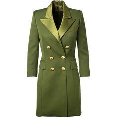 Balmain Olive Wool Coat Dress ($3,540) ❤ liked on Polyvore featuring dresses, woolen dress, three quarter length sleeve dresses, balmain dress, zipper dress and army green dress