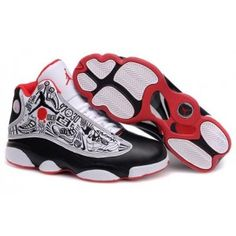 8832d2260e Air Jordan 13 Embroidery Black White Red. Jordan 13Preto Branco VermelhoSapatos  ...