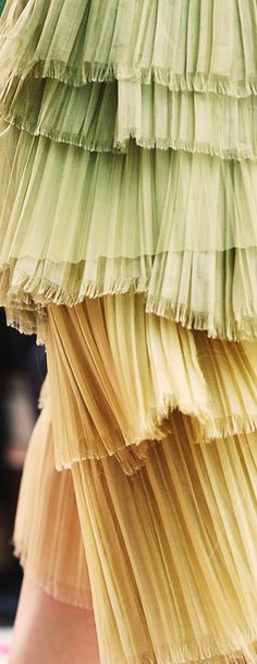 Burberry - Cascading tiers of pale pleated tulle on the S/S15 runway