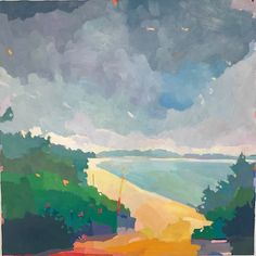 """A LARGE Beach Painting. Martha's Vineyard, Oil on linen, 48 x 48"""" Henry Isaacs Home Page"""