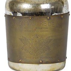vintage brass sheet bottle lamp | wine bottle and brass lamp | antique brass rivet lamp | french wine bottle lamp | vintage bottle side lamp