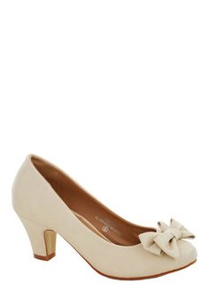Paving Grace Heel - Cream, Solid, Bows, Wedding, Bridesmaid, Bride, Mid, Faux Leather, Good, Party, Daytime Party, Graduation