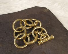 Chunky Solid Gold Bracelet With Bamboo Inspired Clasp