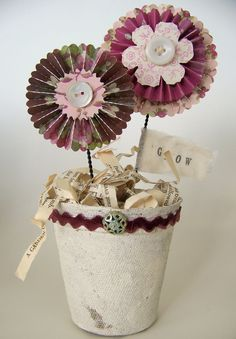 Vintage Spring  Flowers Whimsical Paper Flowers Potted Paper Rosettes Cottage Style Flowers