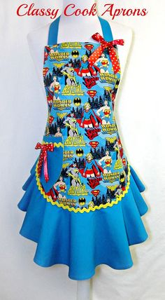 Apron WONDER WOMAN Supergirl Bat Girl GIRL POWER, by ClassyCookAprons, $38.50