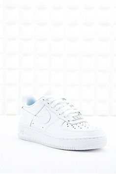 "Nike ""Air Force 1"" Flache Ledersneaker in Weiß"