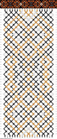 Friendship bracelet pattern - 20 strings - 3 colors