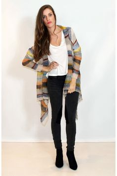 Knit idea... Multi-coloured stripe open-stitch knit cardigan. By Living Doll.