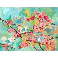 """""""Cherry Blossom Birdies"""" Canvas Wall Art by Winborg Sisters from Oopsy Daisy, Fine Art For Kids. Prices starting at $119 (24''x18'')."""