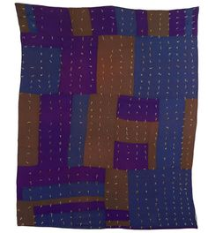 House top variation quilt - crib or hired man's size - African-American, c. 1930-40 mixed fabrics - stretched on archival mount