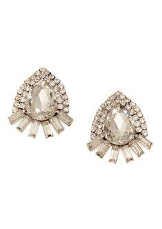 CARA COUTURE  Crystal Encrusted Stud Earrings